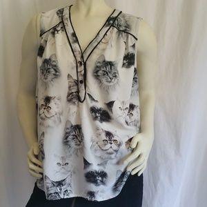 ModCloth Cat Print Rayon Blouse Size 1X